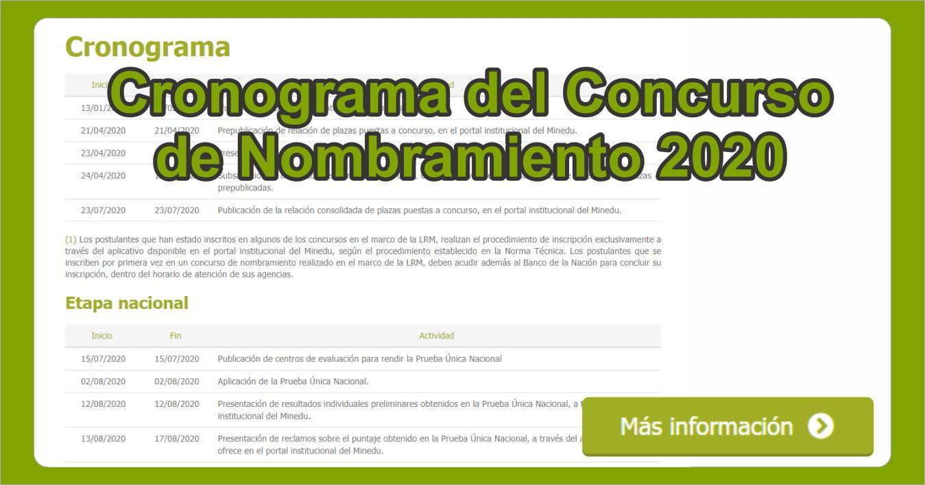 Cronograma del Concurso de Nombramiento 2020