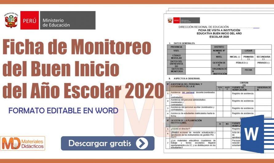 Ficha de Monitoreo del Buen Inicio del Año Escolar 2020