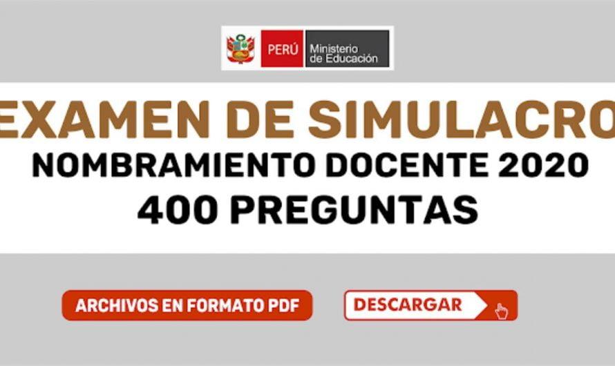 EXAMEN DE SIMULACRO NOMBRAMIENTO DOCENTE 2020