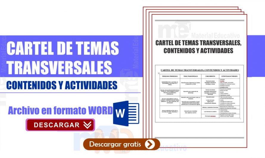 Cartel de temas transversales, contenidos y actividades secundaria