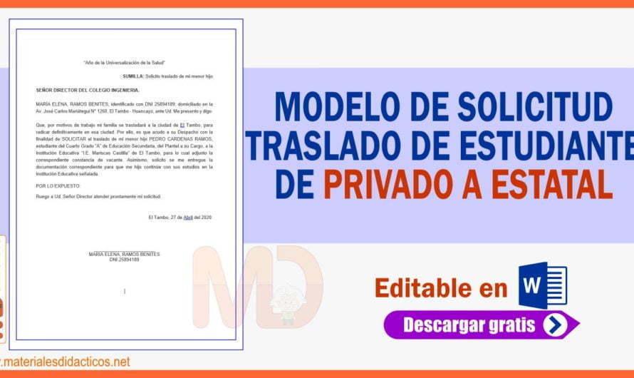 MODELO DE SOLICITUD DE TRASLADO DE ESTUDIANTE DE PRIVADO A ESTATAL