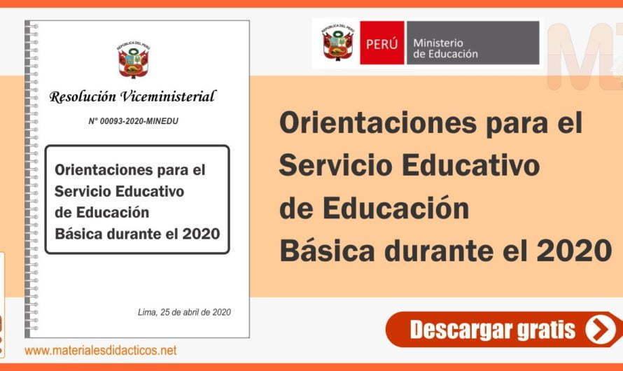 Orientaciones para el Servicio Educativo de Educación Básica durante el 2020