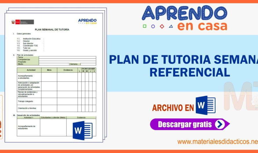 PLAN DE TUTORIA SEMANAL – REFERENCIAL