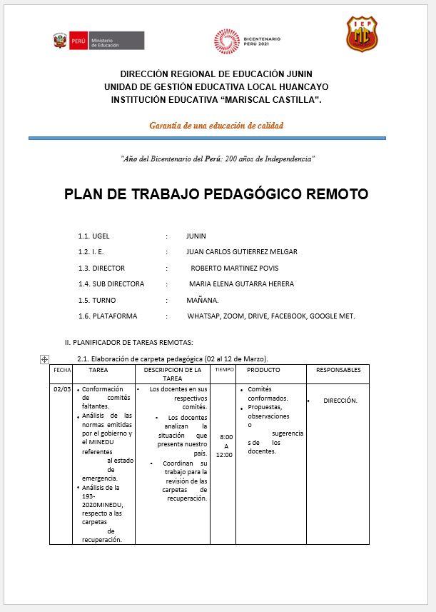 PLAN DE TRABAJO PEDAGÓGICO REMOTO